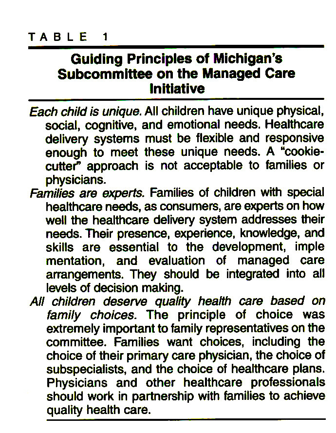 TABLE 1Guiding Principles of Michigan's Subcommittee on the Managed Care Initiative