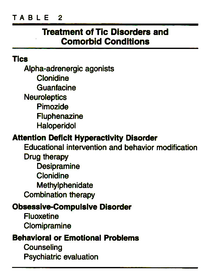 TABLE 2Treatment of Tic Disorders and Comorbid Conditions