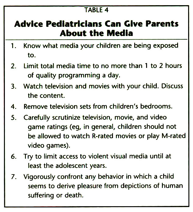 TABLE 4Advice Pediatricians Can Give Parents About the Media