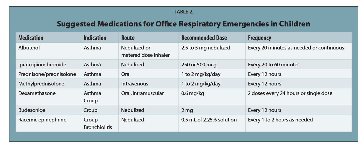 TABLE 2.Suggested Medications for Office Respiratory Emergencies in Children