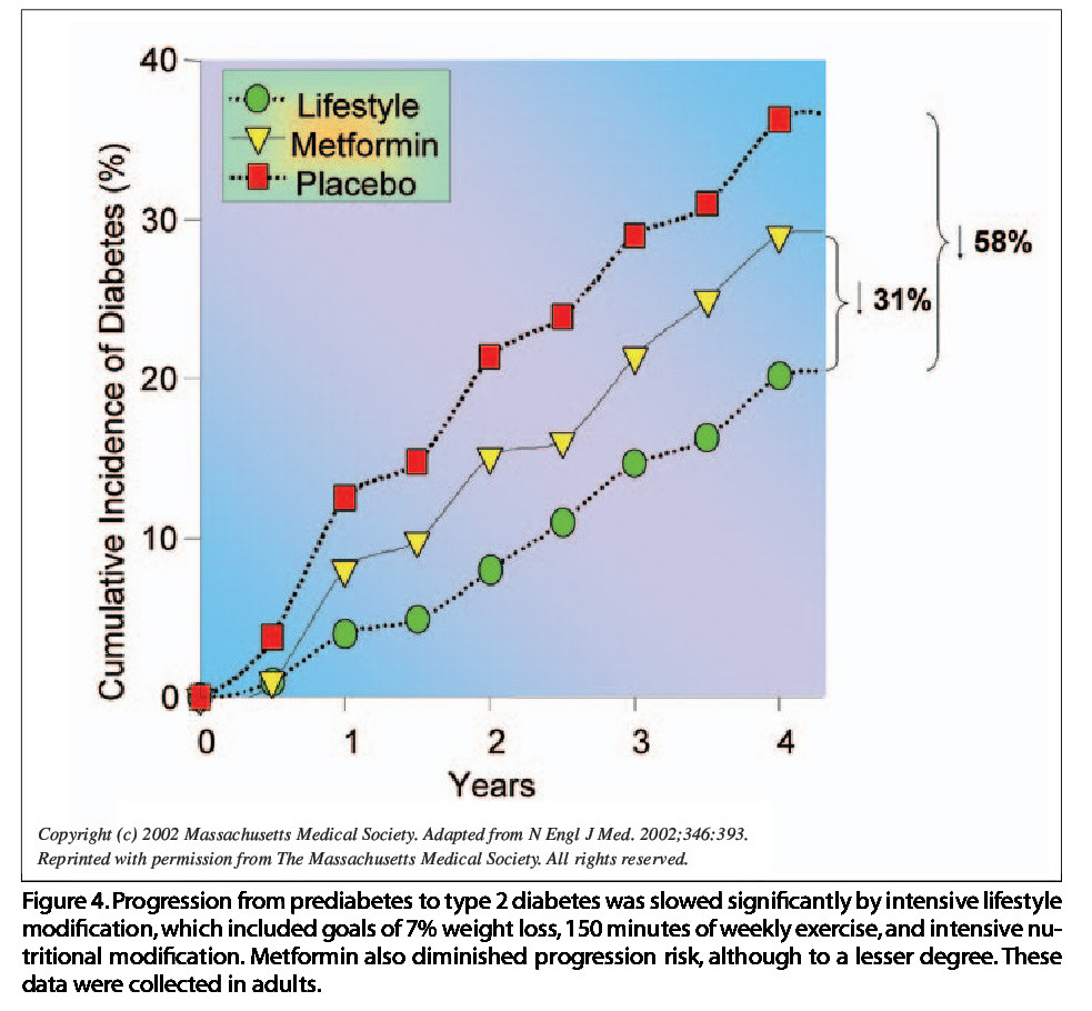 Figure 4. Progression from prediabetes to type 2 diabetes was slowed significantly by intensive lifestyle modification, which included goals of 7% weight loss, 1 50 minutes of weekly exercise,and intensive nutritional modification. Metformin also diminished progression risk, although to a lesser degree. These data were collected in adults.