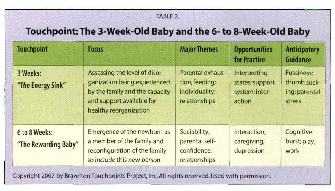 TABLE 2.Touchpoint: The 3-Week-Old Baby and the 6- to 8-Week-Old Baby