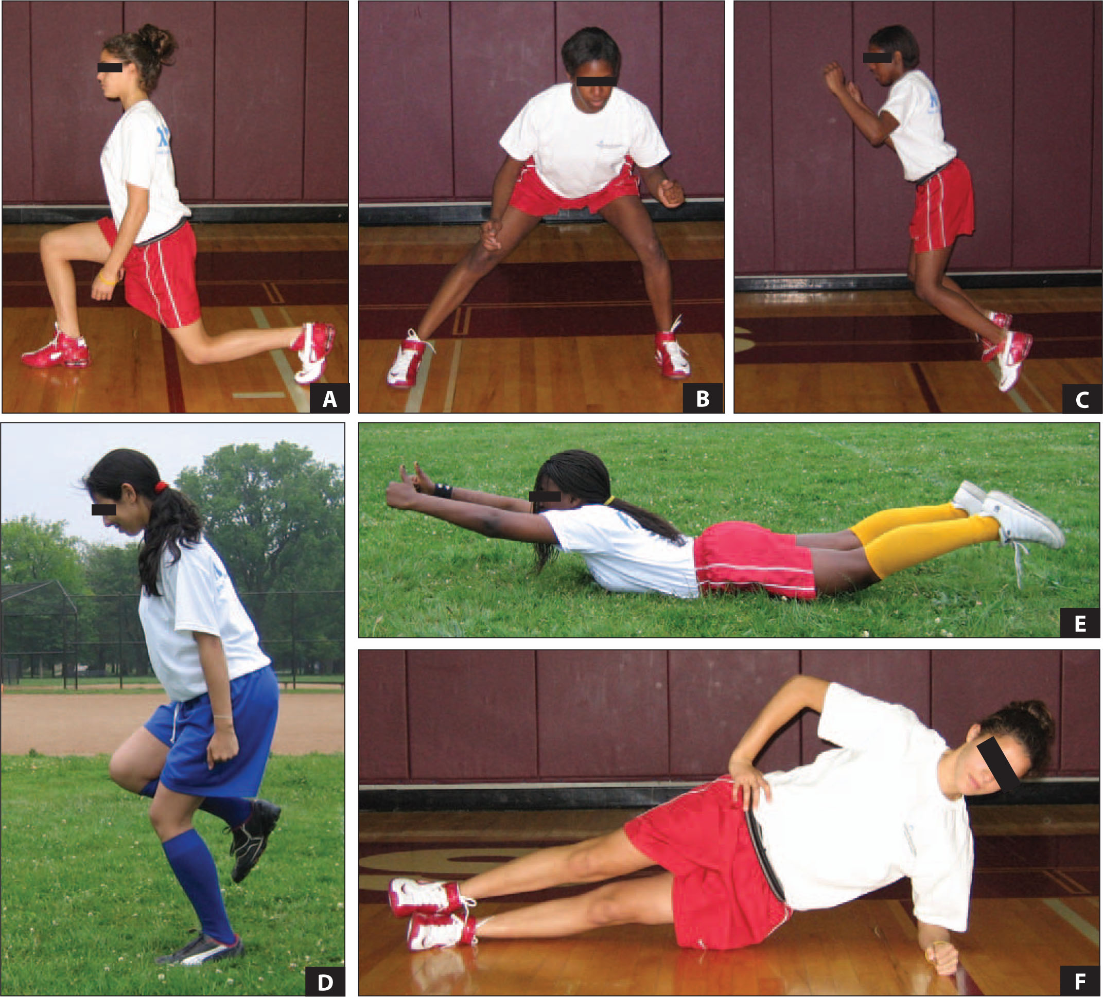 Select Exercises from the Knee Injury Prevention Program (KIPP). A. Forward Lunge. B. Side Lunge. C. Broad Jump. D. Single Leg Jump. E. Prone Lift. F. Side Plank.