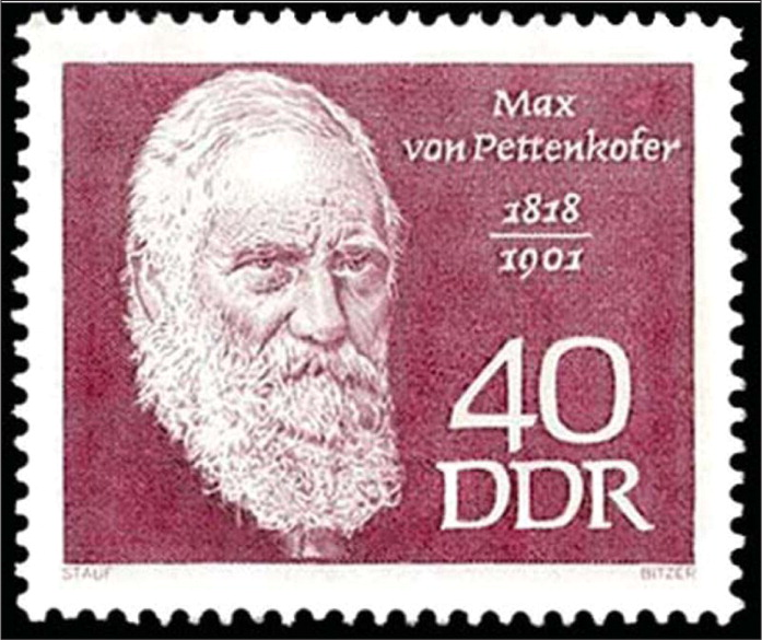 Max Josef von Pettenkofer (1818–1901) of Bavaria is shown on the stamp from DDR (East Germany). Von Pettenkofer is considered the founder of Experimental Hygiene. From the collection of Dr. Shulman, with permission.