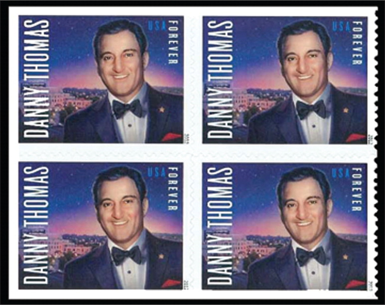 """Danny Thomas commemorative """"Forever"""" stamp, honoring the 100th anniversary of his birth as well as the 50th anniversary of St. Jude's Children Research Hospital, which Thomas founded in 1962.All images courtesy of Stanford T. Shulman, MD. Reprinted with permission."""