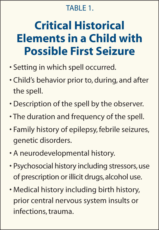 Critical Historical Elements in a Child with Possible First Seizure