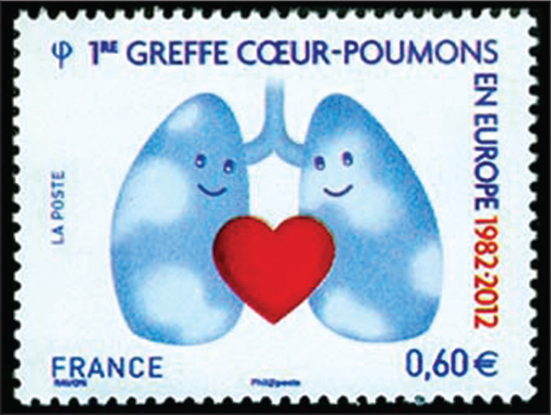 French stamp issued June 18, 2012, in honor of the 30th anniversary of the first heart-lung transplant in Europe.