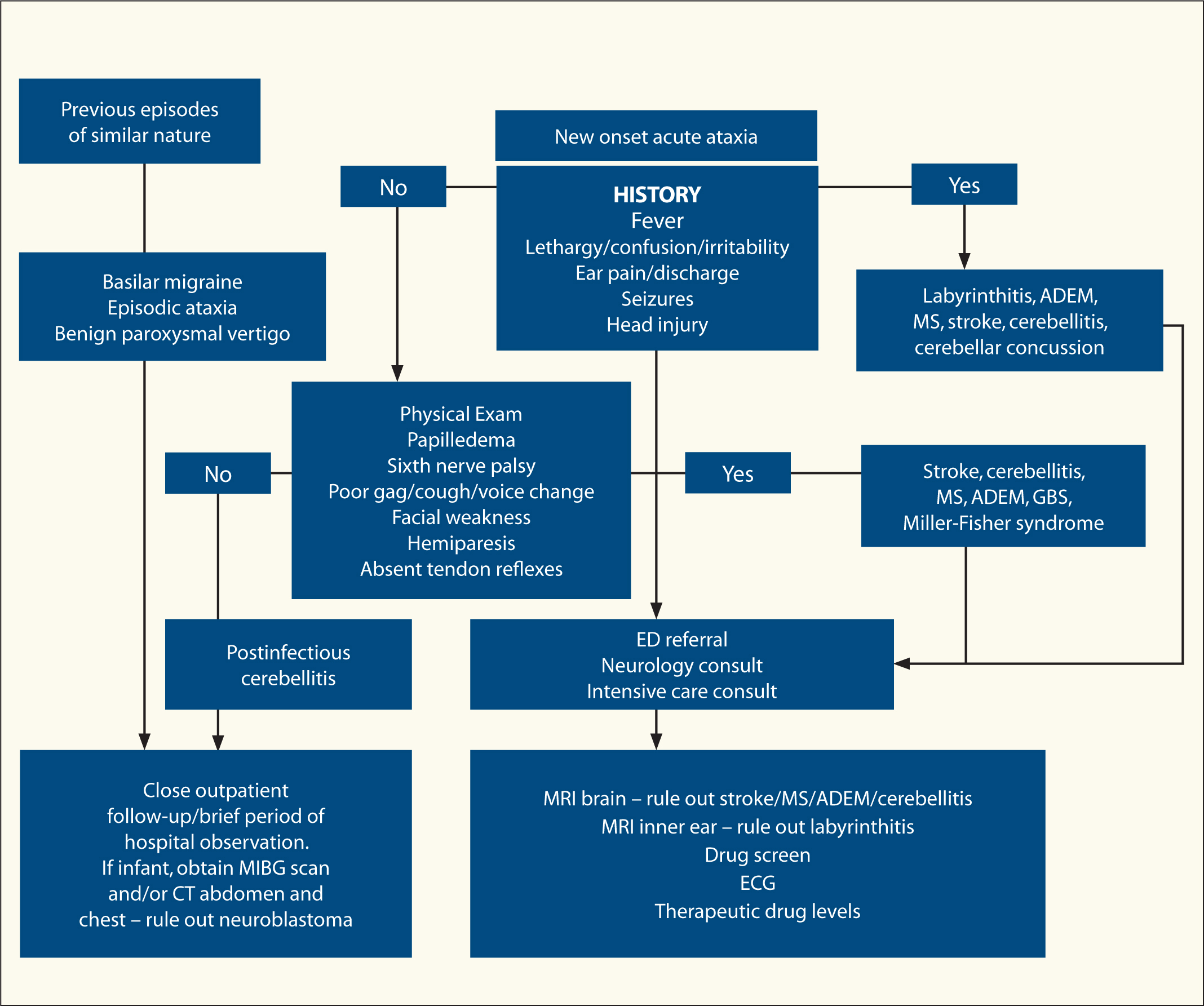Algorithm for investigating acute ataxia. ADEM = acute disseminated encephalomyelitis; CT = computed tomography; ECG = electrocardiogram; ED = emergency department; GBS = Guillain-Barré syndrome; MIBG = metaiodobenzylguanidine scintigraphy; MS = multiple sclerosis; MRI = magnetic resonance imaging.Figure courtesy of Lalitha Sivaswamy, MD.
