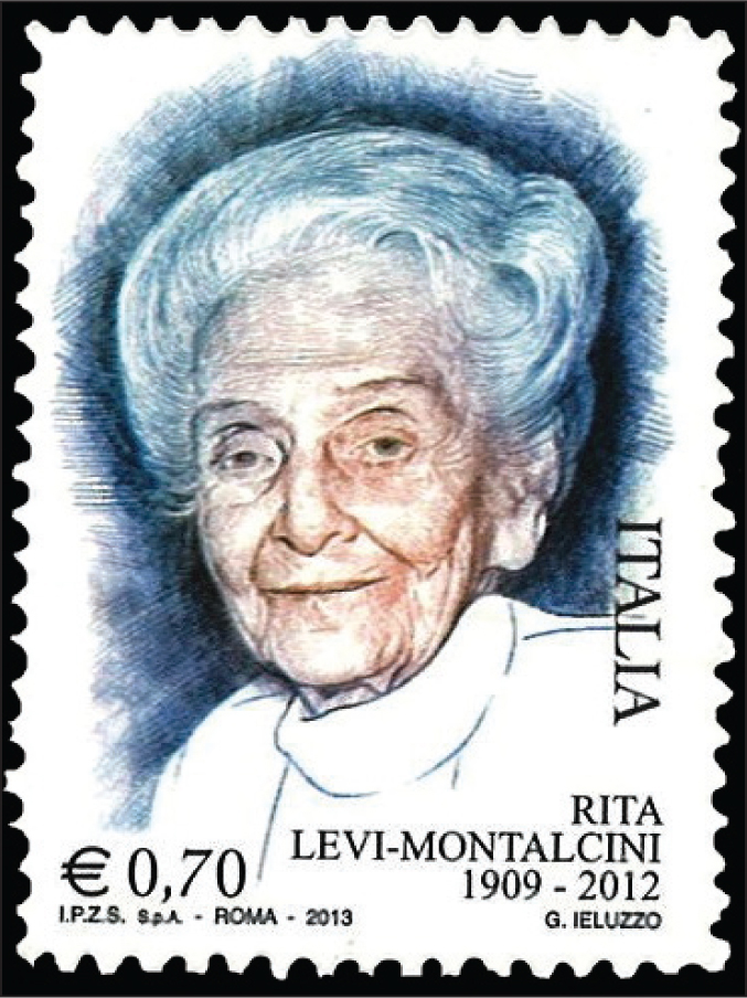 A 2013 stamp from Italy features Rita Levi-Montalcini (1909–2012), the only Nobel Laureate (in 1986 with Stanley Cohen for the discovery of nerve growth factor) to live longer than 100 years.