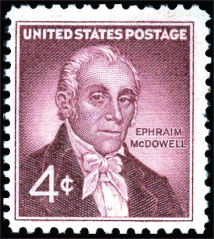 A 1959 stamp to honor Dr. Ephraim McDowell (1771–1830), famous for his surgery in 1809 removing a 10-kg ovarian tumor in 25 minutes.Images courtesy of Stanford T. Shulman, MD.