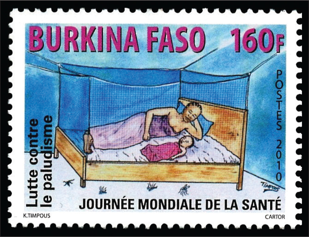 This 2010 stamp from Burkino Faso in French West Africa highlights the fight against malaria, specifically the use of bed nets to block mosquitoes.