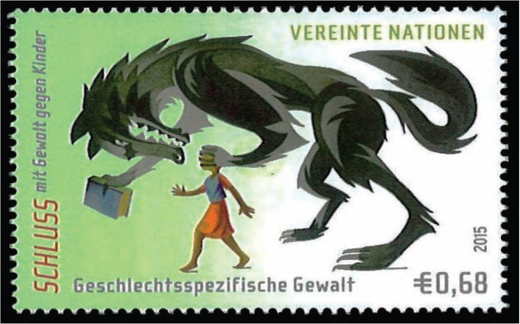 A stamp illustrating gender-based violence against children.