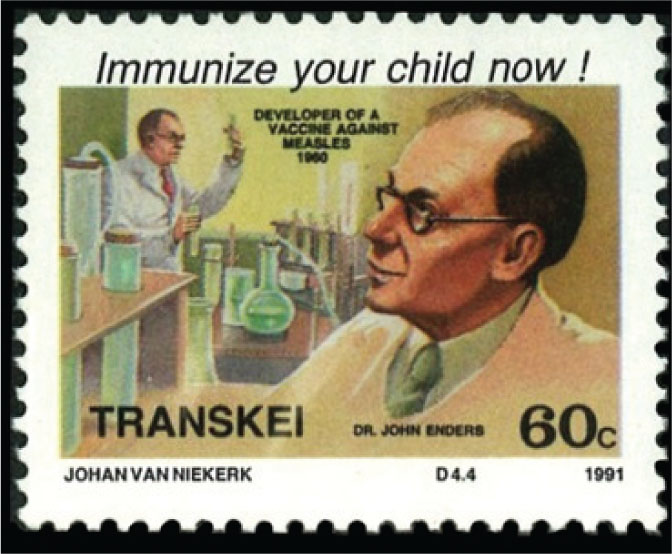 """This 60¢ Transkei stamp honors John Enders, PhD (1897–1985), often called the """"Father of Modern Vaccines."""""""