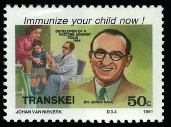 This 50¢ Transkei stamp shows Dr. Jonas Salk (1914–1995), who developed the inactivated polio vaccine in 1954.
