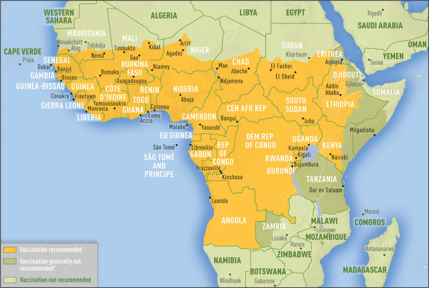 Yellow fever vaccine recommendations in Africa. From the Centers for Disease Control and Prevention (permission is not required).15