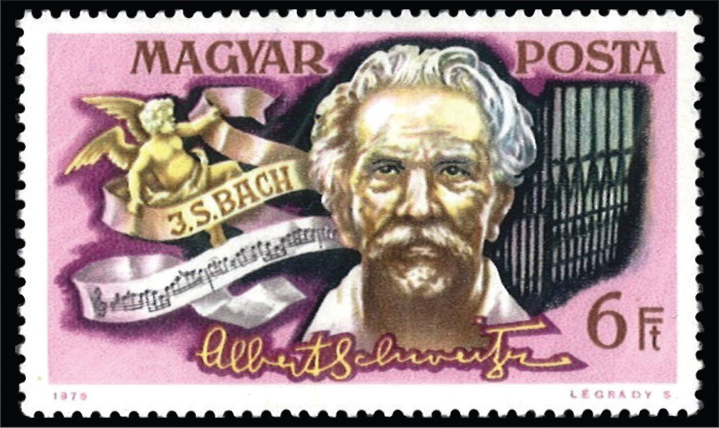 A Hungarian stamp honoring the 1952 Nobel Peace Prize awardee, Dr. Albert Schweitzer (1875–1965).