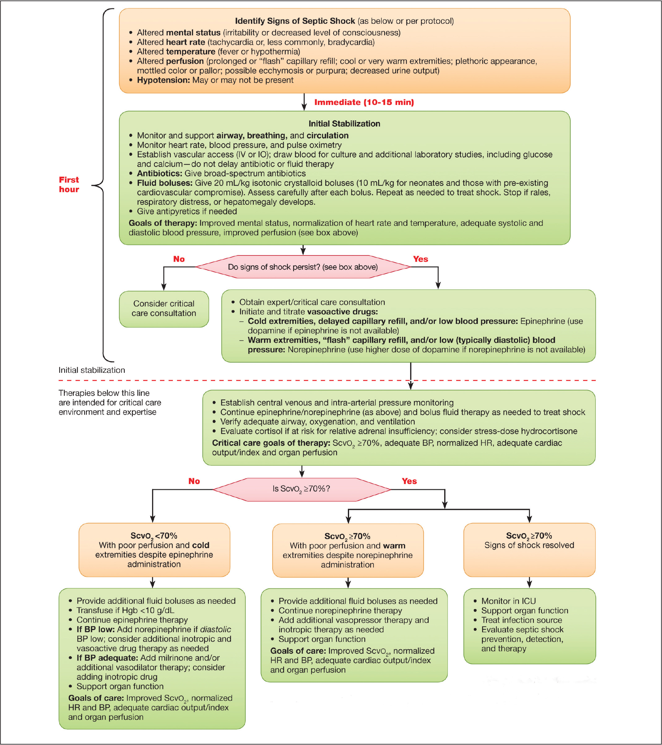Pediatric septic shock algorithm. BP, blood pressure; HR, heart rate; ICU, intensive care unit; IO, intraosseous; IV, intravenous; ScvO2, central venous oxygen saturation. Reprinted with permission from the Pediatric Advanced Life Support Provider Manual ©2016 American Heart Association, Inc., page 221, Figure 40.32