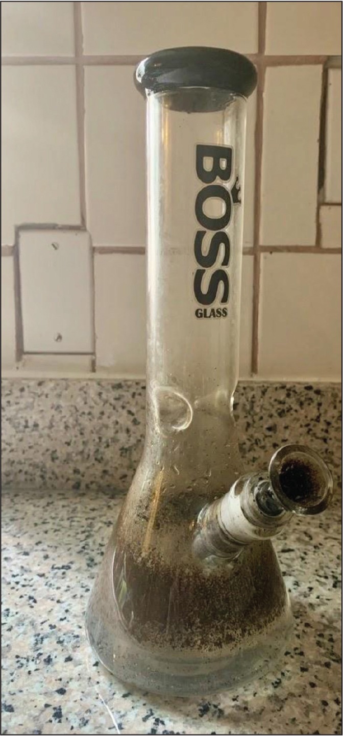 "A bong where marijuana or other cannabinoid ""herbs"" are placed in the bowl and lit. Used with permission from Joseph Montalto, BA."