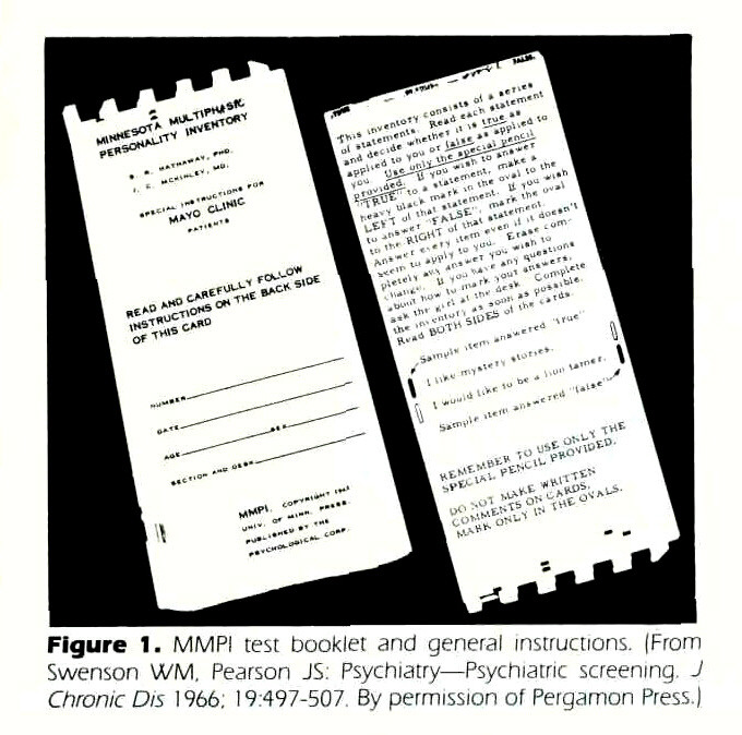 Figure 1. MMPI test booklet and general instructions. (From Swenson WM. Pearson JS: Psychiatry - Psychiatric screening. J Chronic Dis 1966; 19:497-507 By permission of Pergamon Press.)