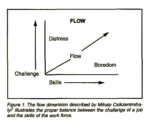 Figure 1. The flow dimension described by Mihaly CsikzentmihaIyV illustrates the proper balance between the challenge of a job and the skills of the work force.