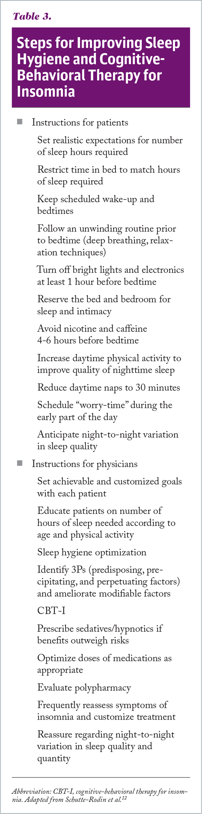 Steps for Improving Sleep Hygiene and Cognitive-Behavioral Therapy for Insomnia