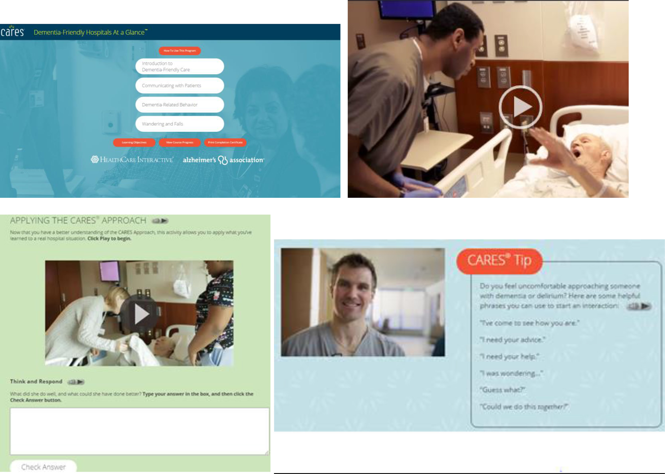 Screen shots of the CARES Dementia-Friendly Hospital modules.