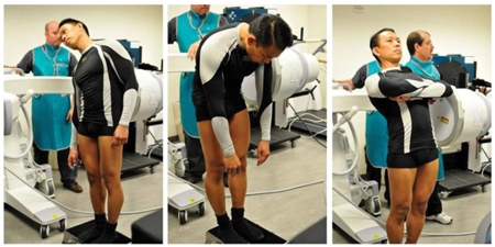 A spinal kinematics test is demonstrated, which is a test that astronauts were subject to in studies Jeffrey C. Lotz Phd, and colleagues did.
