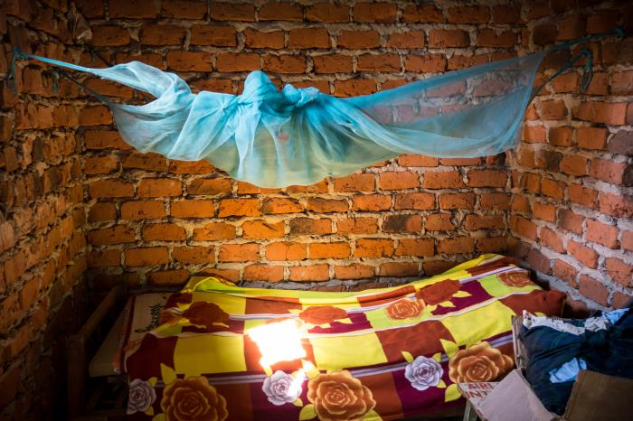 Photo of bednet over bed in Uganda
