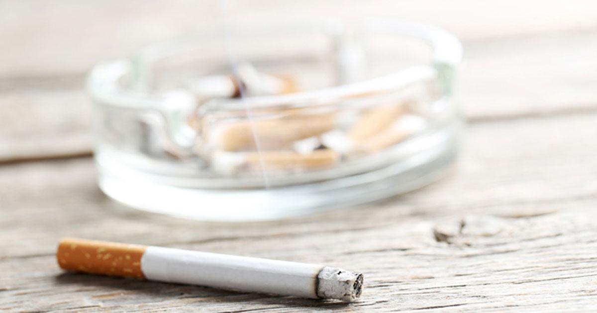 Smoking cigarette and ashtray